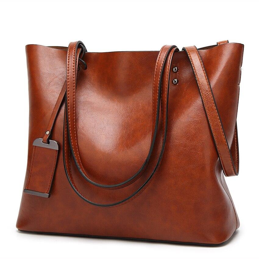Di nuovo Modo delle Donne di Pelle di Cera Olio Borsa Delle Donne di Marca del Messaggero di Crossbody bag Casual Tote di Cuoio dei sacchetti di Spalla Femminile 2018