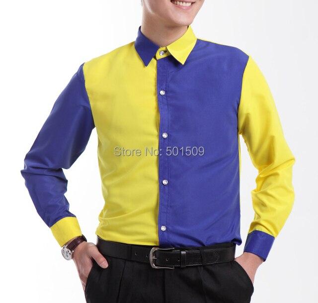 Бесплатная доставка синий и желтый смокинг рубашки партия/рубашки события/партии/этап