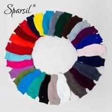 Sparsil Winter Cashmere Knit Half-Finger Short Gloves Solid