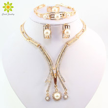 New Designer Gold Color Dubai African Crystal Simulated Pearl Necklace Bracelet Earring Ring Wedding/Bride Jewelry Set