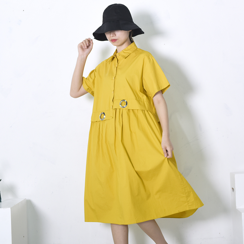 [EAM] 2018 New Summer Round Neck Short Sleeve Yellow Metal Ring Split Joint Loose Big Size Fold Dress Women Fashion Tide JF729