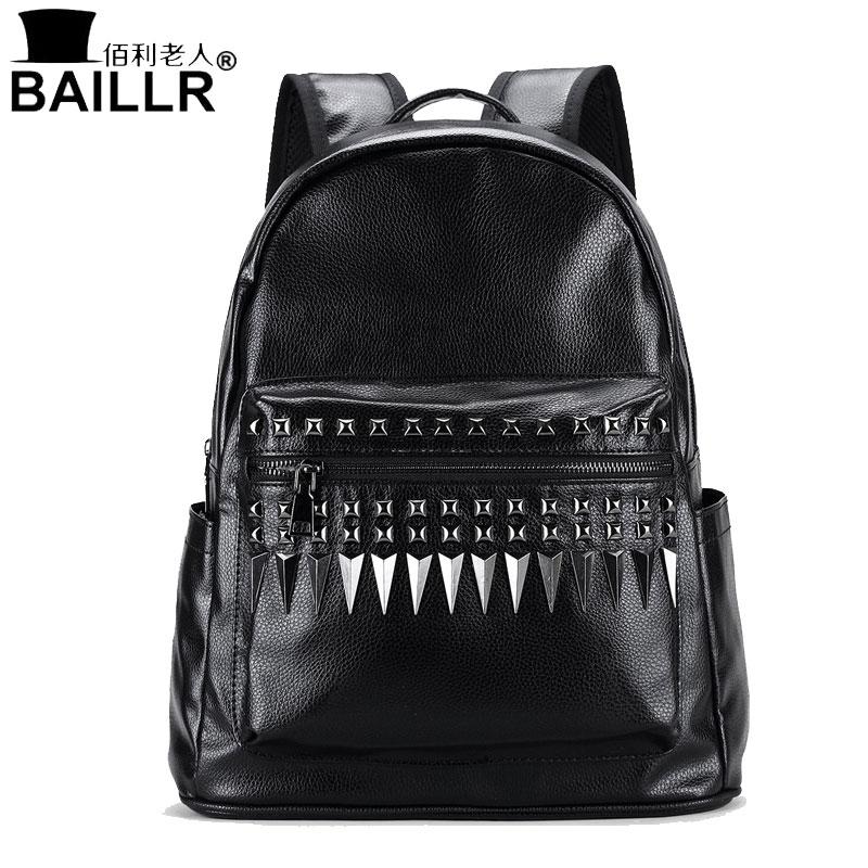 BAILLR 2017 Design High Quality PU Leather Men's Vintage Rivet Backpack Zipper School Bag Travel Satchel Laptop Casual Men Bag punk women s satchel with rivet and pu leather design
