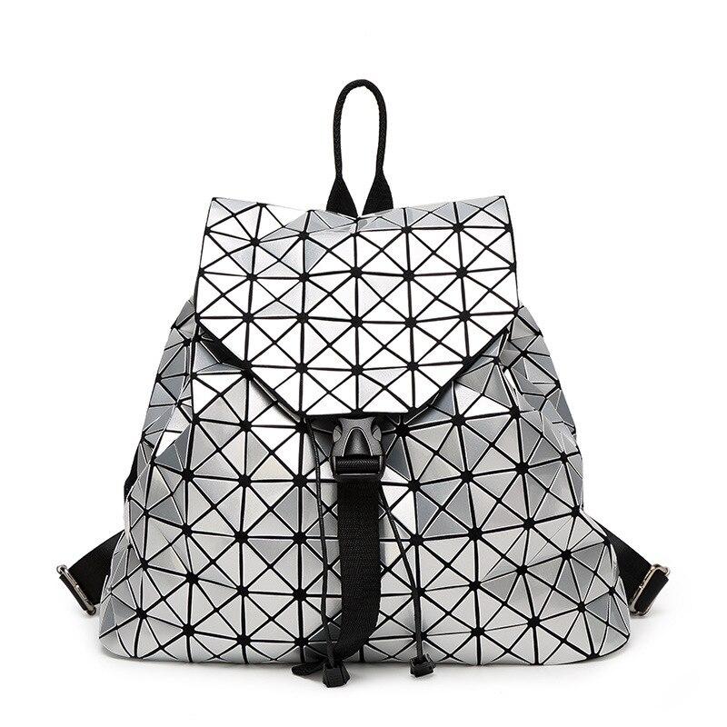 Новый японский женский лазерный рюкзак Геометрическая сумка на плечо Студенческая школьная сумка Голограмма женские рюкзаки Серебряный Р...
