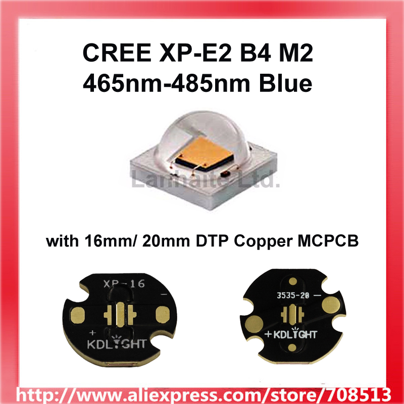 Cree XP-E2 B4 M2 <font><b>470nm</b></font> Blue LED Emitter with 16mm / 20mm Copper PCB (1 pc) image