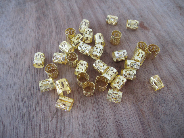 100 Golden Dreadlock Beads Adjule Hair Braid Cuff Clip 8mm Hole