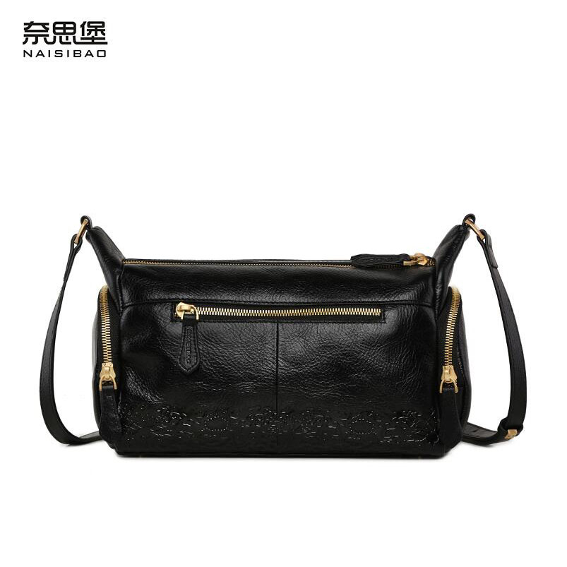 Cow leather handbag  free delivery  New leather women bag Retro shoulder Messenger bag New moon package cow leather handbag free delivery 2016 fall fashion weave pattern small square package stylish simplicity messenger bag