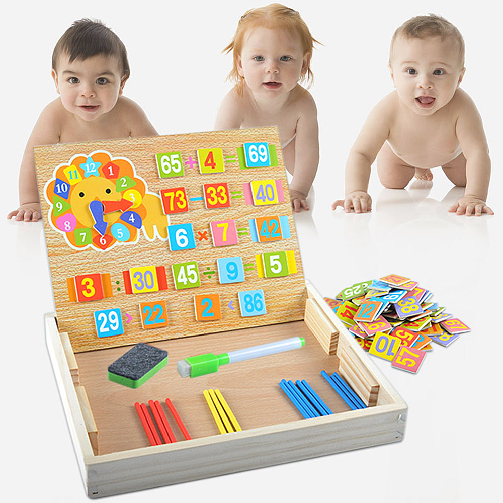 Learning Educational Wooden Arithmetic Number Toys Box Digital Math Blocks Puzzles Math Toys with Counting Stick & Blackboard
