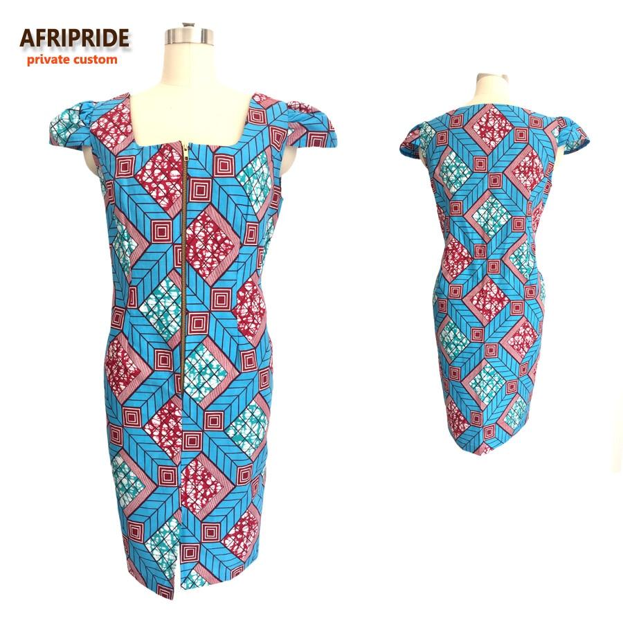 2019 fashion style african dress for women sexy U-neck short sleeve knee-length casual women cotton dress ankara print A722511