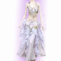 Elegent Stage Wear Belly Dance Costumes Including Brassiere Skirt And Waist Chain Sexy Sequin Beeds Bra