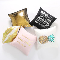 Cocostyles InsFashion creative handmade cotton thread back cushion with glitter pineapple pattern for car backrest use