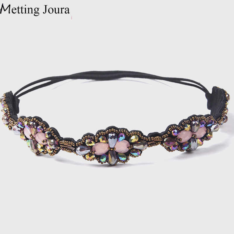 Metting Joura Ethnic AB plating Beads Headband Vintage beads Flower Braided Purple Hairband Elastic Headband Hair Accessories
