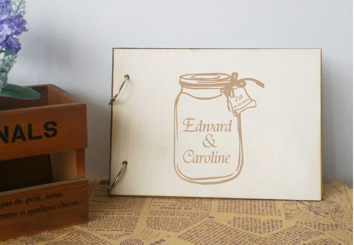Custom Bridal Sign Guestbook Drifting Bottle Design Wooden Wedding Guest Book Engagement Photo Album Anniversary Wedding Gifts