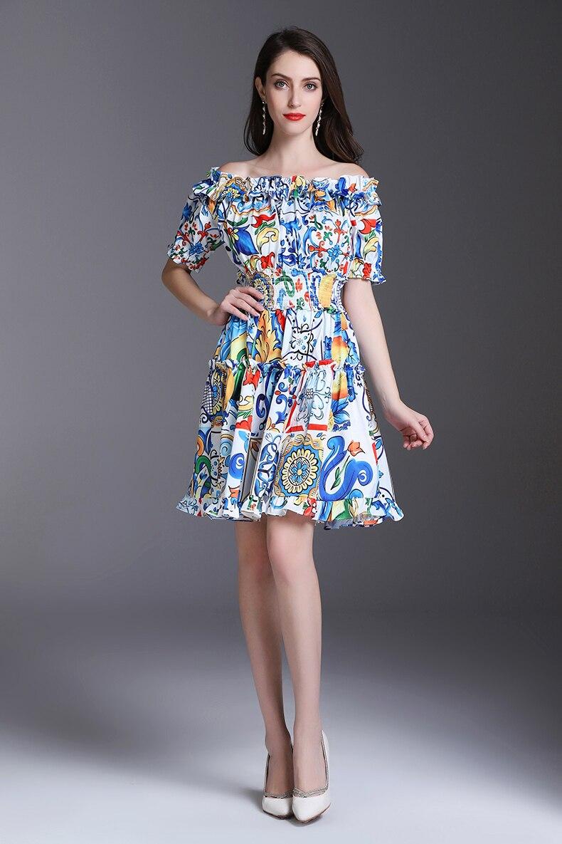 0eda7132ccda LD LINDA DELLA 2018 Designer Summer Dress Women s Off the Shoulder Slash  neck Elastic waist Floral Print Casual Mini Short Dress