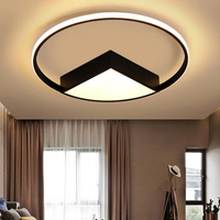Circle ceiling light fixture modern surface mounted LED living room bedroom Black White Round Nordic lamps Home Lights 110 220v