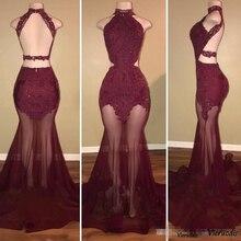 2019 New Burgundy High Neck Mermaid Prom Dress Sleeveless Lace Applique Backless Evening Party Gowns vestidos de fiesta цены