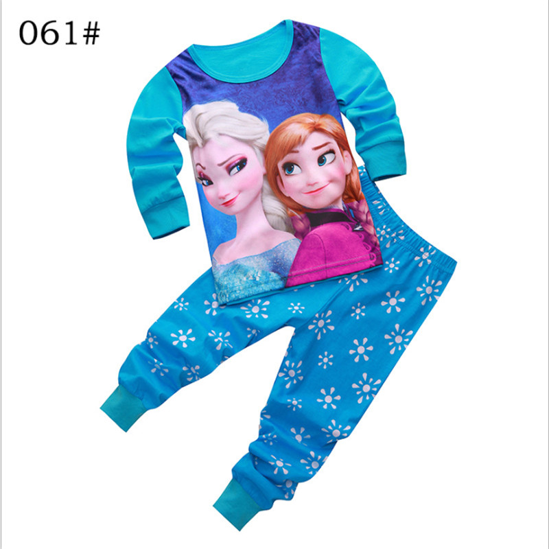 Hot Cartoon Pajamas For Toddler Girls 2-8Y Snow Queen Elsa Anna Princess Cosplay Sleepwear Suit For Children Girl 2pcs Clothes