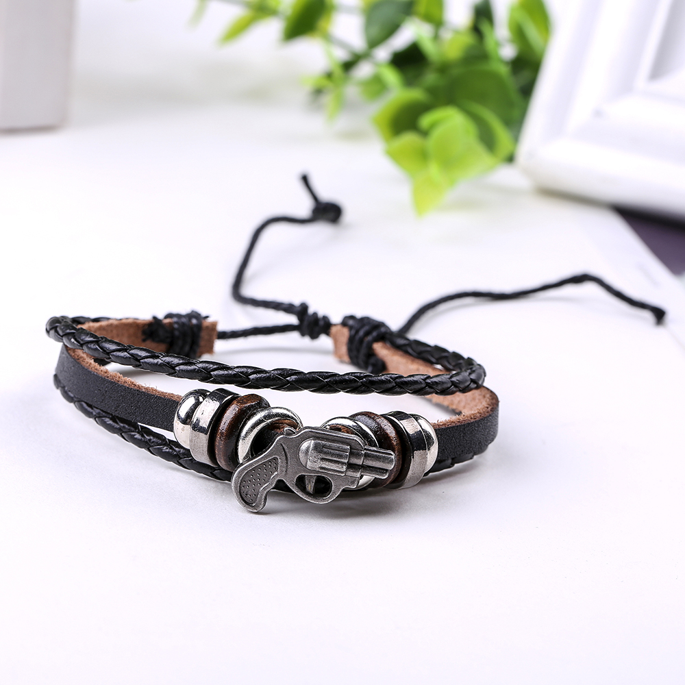 CUTEECO Vintage Punk Rock Cuff Leather Bracelets Wrist Band CS Pistol Charm Bracelet for Hiphop Men Jewelry Accessories in Charm Bracelets from Jewelry Accessories