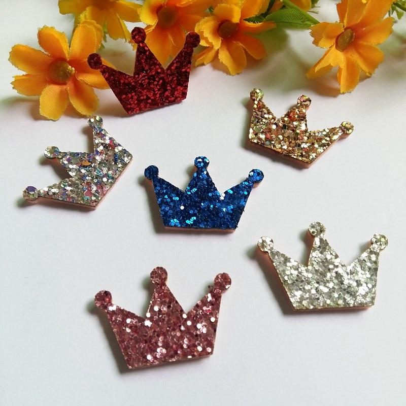 80PCS 26mm-32mm Glitter Crown coser Patch diy artesanía accesorio - Artes, artesanía y costura