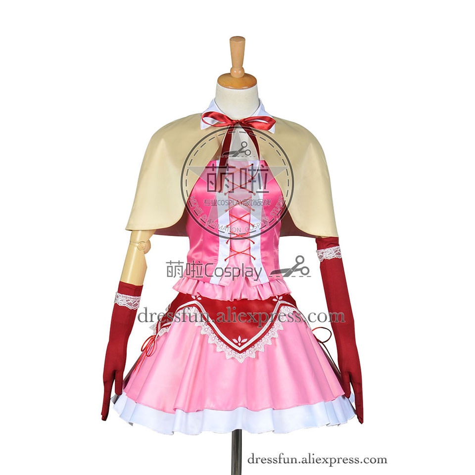 Puella Magi Madoka Magica Cosplay Madoka Kaname Costume New Pink Dress Cape Uniform Party Fashion Halloween Fast Shipping