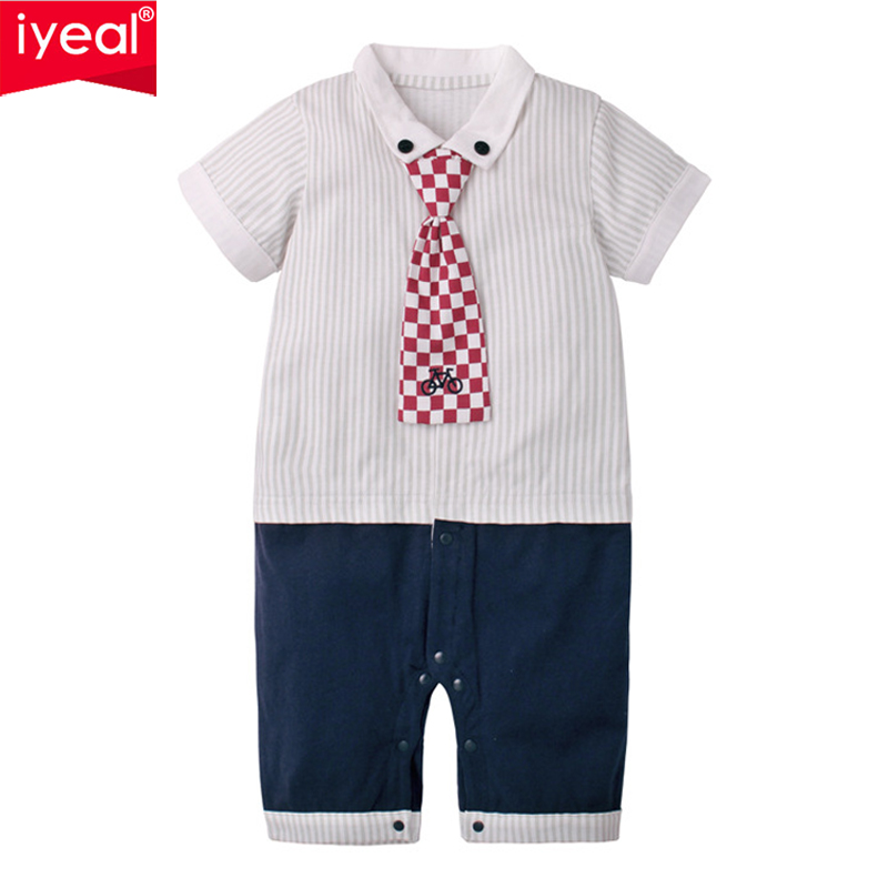 IYEAL NEW Fashion Summer 2018 Gentleman Baby Rompers Fake 2 Pieces Cotton Bow Tie Costume Infant Jumpsuit Newborn Boys Clothes autumn newborn baby gentleman rompers cotton infant boys clothes set tie bow toddler kids jumpsuit one piece girl clothing set