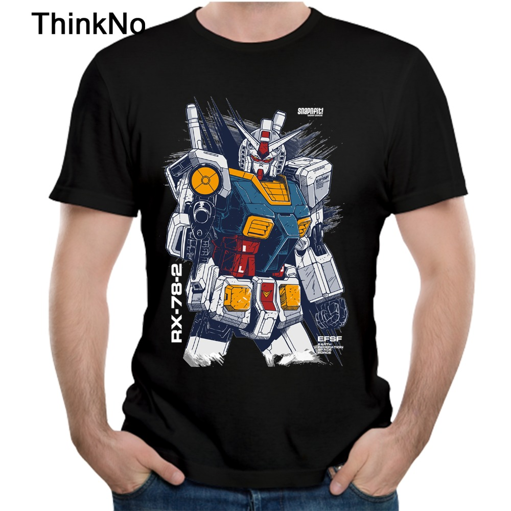 For Men Gundam   T     Shirt   100% Cotton Short-sleeved Casual Round Neck Popular Tee