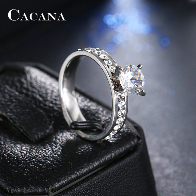 CACANA Titanium Stainless Steel Rings For Women Circle CZ Fashion Jewelry Wholesale NO.R174 4