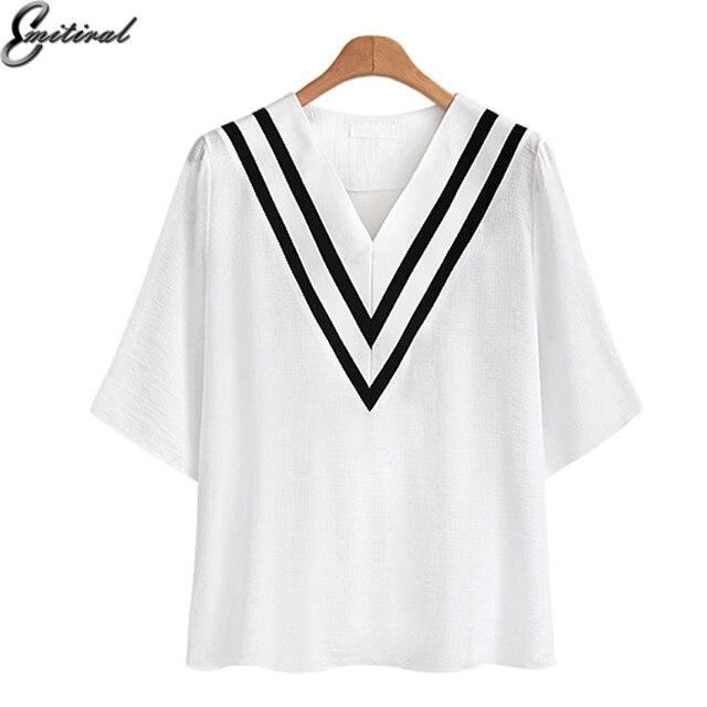 ebc02944 Emitiral 2018 Summer Women Basic T-shirt Sexy V Neck Short Sleeves Ladies Tops  Black White Big Plus Size 4XL Casual Loose Tees