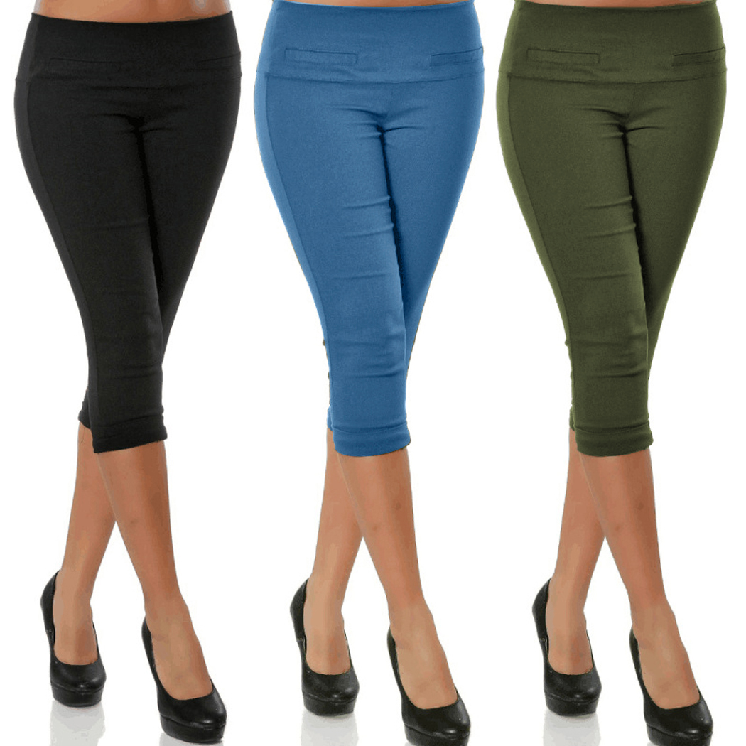 Plus Size Women 3/4 Length Skinny   Pants   Ladies Casual Cropped Stretch Legging Trousers   Capris   For Women Elastic Pencil   Pants   4XL
