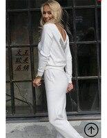 Костюмы 2018 новые весенние Для женщин Лидер продаж костюм из 2 предметов вязаной норки бархат ручной работы из бисера Сексуальная v образным
