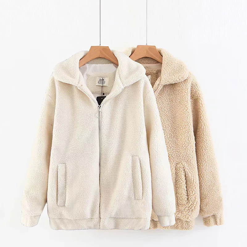 Women Autumn Winter Jacket Sherpa Warm Cotton White   Parka   Female Vintage Casual Lapel Plush Coat For Ladies Thick C