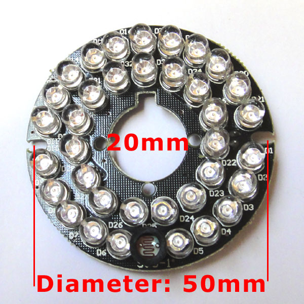 36LEDs 5mm Infrared IR 90 Degrees Bulbs Board 850nm Illuminator 36 Leds For CCTV Camera ir illuminator 48led dc12v 850nm white