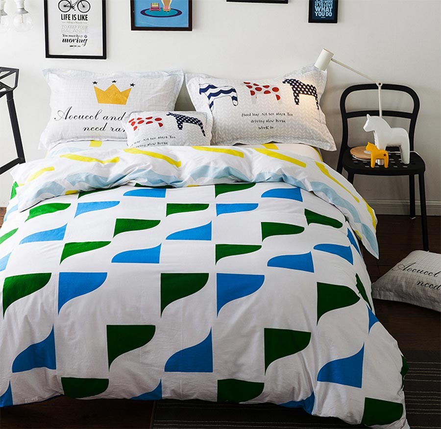 popular geometric beddingbuy cheap geometric bedding lots from  - cute geometric bedding sets teenage child kidfull queen cotton blue greenhome textile flat