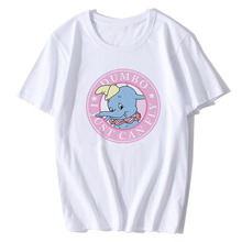 BTFCL Dumbo Women T Shirt Summer Girls Print 2019 Short Sleeve O Neck Cotton Top Loosekawaii Plus Size Funny White Tops Tee