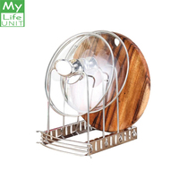 MYLIFEUNIT Pot Lid Organizer Multifunction bowl plate dish drainer rack shelf holder for Pots dishes Pans