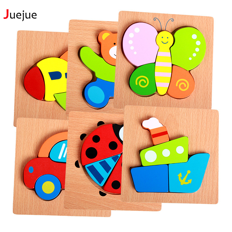 Wooden 3D Puzzle Jigsaw Wooden Toys For Children Cartoon Animal Puzzle Intelligence Kids Educational Toy Toys baby toys new cartoon 3d jigsaw puzzle building toys for children wooden traffic animal design kids toy