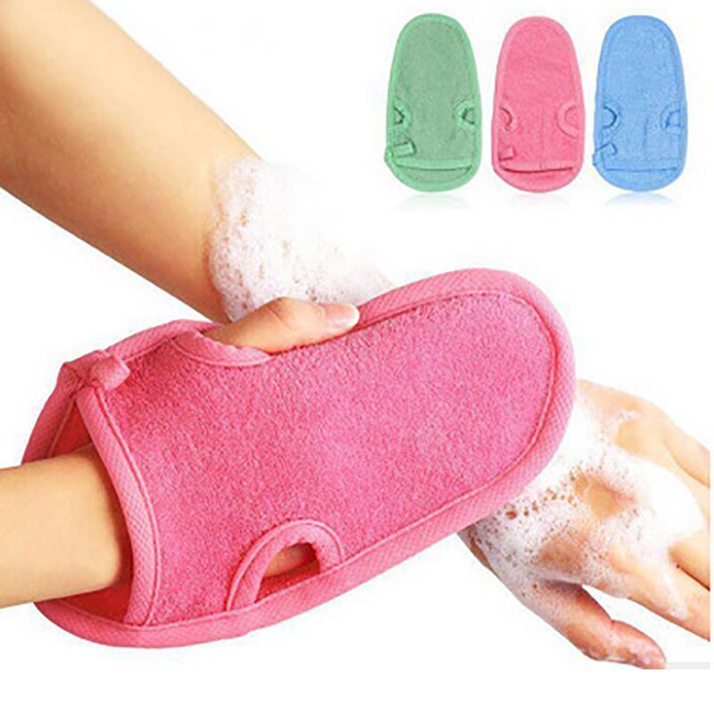 1Pc Soft Shower Glove Cellulite Body Scrub Massager Brush Glove Bath Spar font b Bathing b