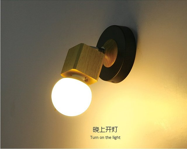 Moderne massief houten wandlamp iron cover licht diy verlichting