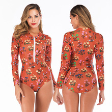 Print Floral One Piece Swimsuit Long Sleeve Swimwear Women Bathing Suit Retro Vintage One-piece Surfing Swim Suits 2019