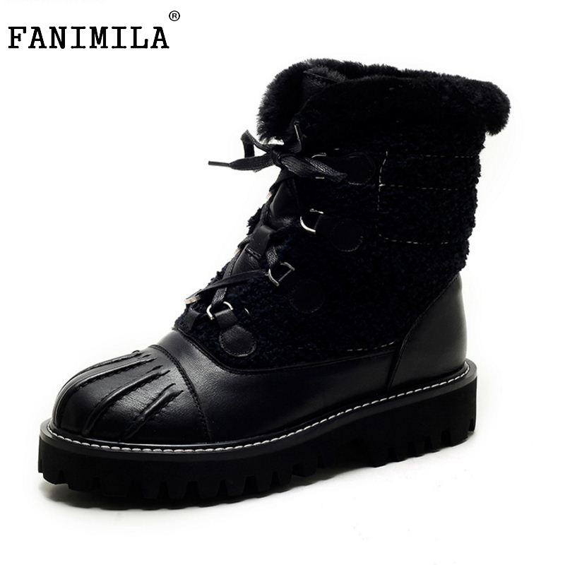 New Winter Genuine Real Leather Boots Women Flats Plush Ankle Snow Boots Feminina Casual Fashion Lace Up Women Shoes Size 34-39