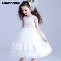 SMDPPWDBB Bruiloft Roze Witte Bloemen Meisje Jurk Baby Pageant Jurken Verjaardag Peuter Kids avondjurken Aangepaste