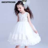 SMDPPWDBB Wedding Party Pink White Flowers Girl Dress Baby Pageant Dresses Birthday Toddler Kids evening gowns Customized