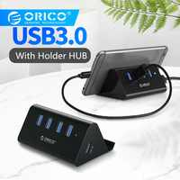 ORICO ABS 4 Port USB HUB High Speed 3,0 USB HUB OTG Splitter Multi Hub Mit Telefon Tablet Halter Für laptop PC