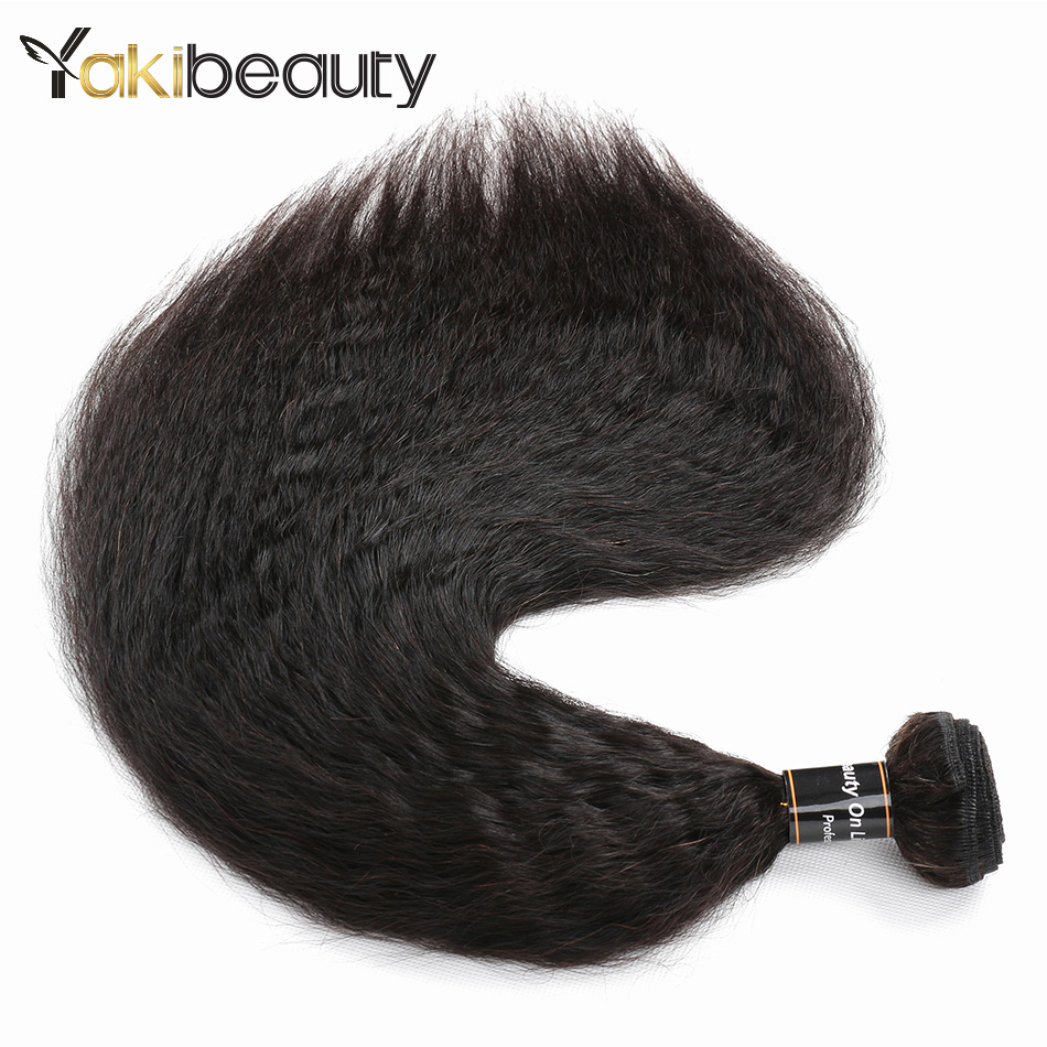 YakiBeauty Malaysian Human Hair Kinky Straight Hair Weave Bundles 4pcs/lot 8-28 Remy Yak ...