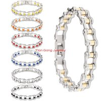 8 66 10mm Width Punk Gothic Mens Jewelry 316L Stainless Steel Motorcycle Biker Chain Bangle Bracelet