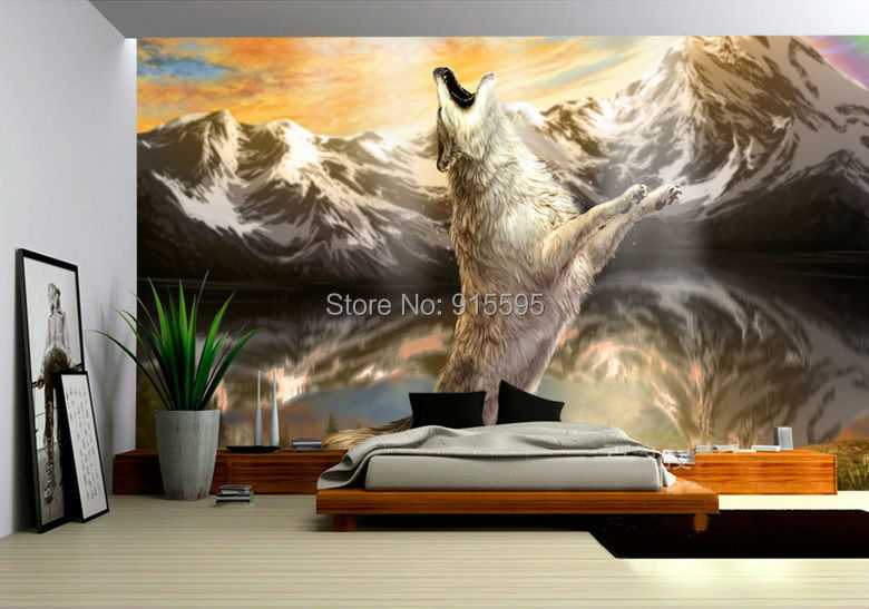 Low cost custom 3d photo wall paper angry wolf snow for Custom mural cost