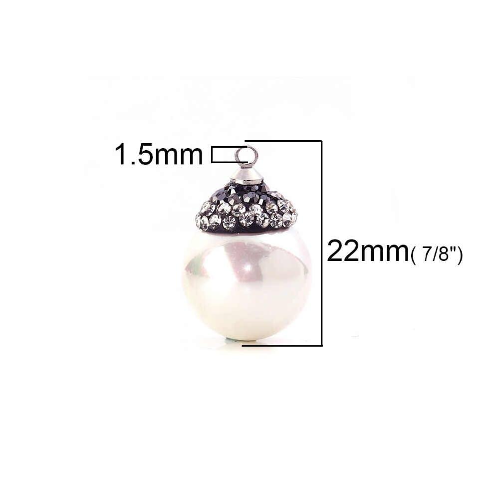 "Doreen Box Shell Micro Paved Pendants White Ball Dark Gray Clear Rhinestone Imitation Pearl 22mm( 7/8"") x 15mm( 5/8""), 1 Piece"