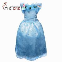 Girls Cinderella Cosplay Dresses Children Girl Cartoon Butterfly Princess Party Dress Kids Sequins Gown Costume O022