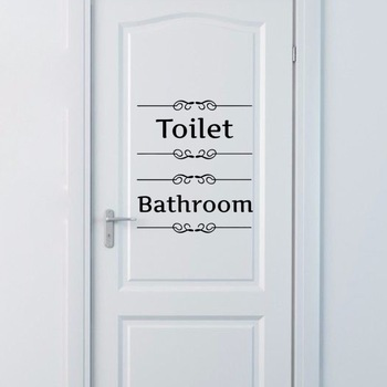 Quote Toilet Door Vinyl Decal-Free Shipping Bathroom Stickers Wall Stickers With Quotes
