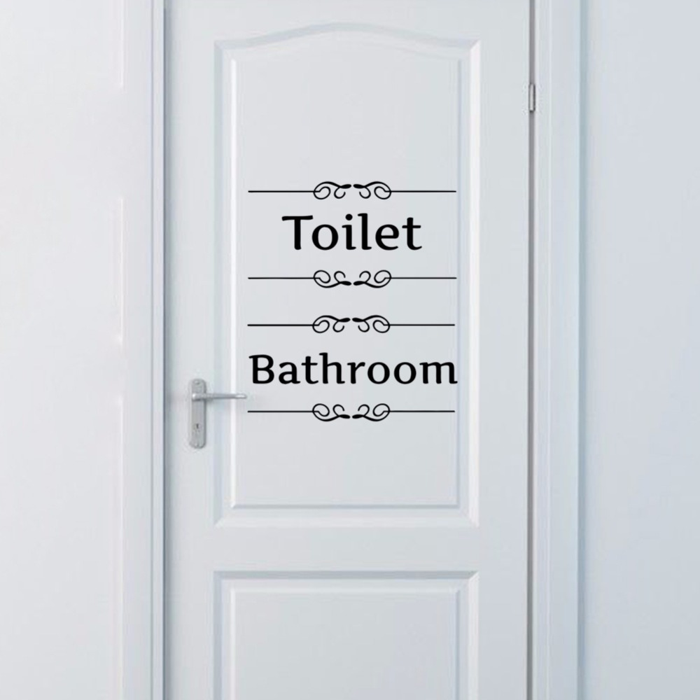 Free shipping Vintage Wall Sticker Bathroom Decor Toilet Door Vinyl Decal Transfer Vintage Decoration Quote Wall Art(China)