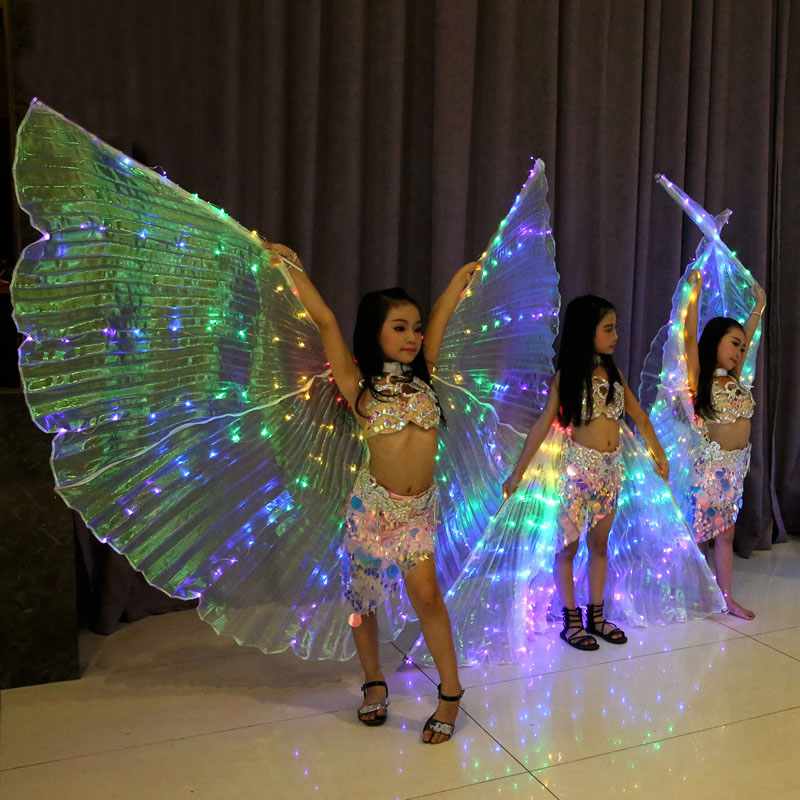 Girls Colored LED Light Belly Dance Wings Butterfly Costume for Kids Oriental Indian Bellydance Performance Dancing